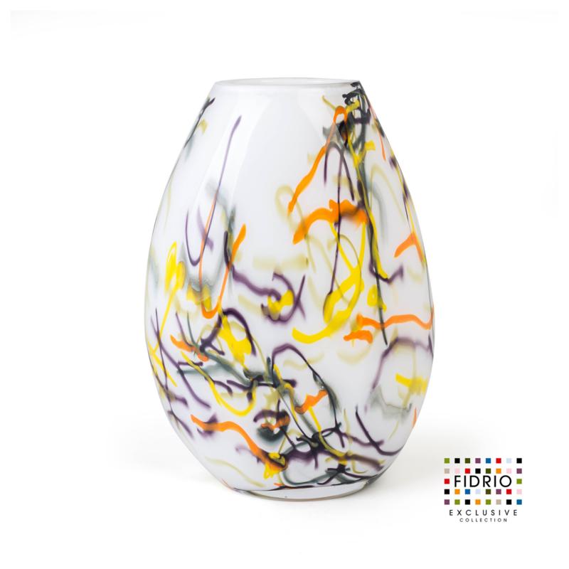 Design vaas Fidrio - glas kunst sculptuur - organic - spirelli - mondgeblazen - 40 cm hoog ---