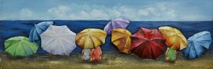 90 x 30 cm - 3D art Schilderij Metaal Strand - metaalschilderij - handgeschilderd