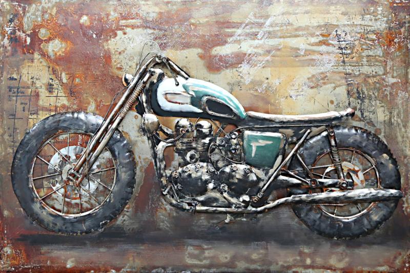 120 x 80 cm 3D art Schilderij Metaal Motorfiets - handgeschilderd