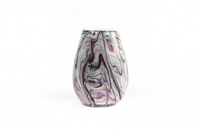 Design vaas Fidrio - glas kunst sculptuur - organic - Coloured stripes - mondgeblazen - 20 cm hoog --