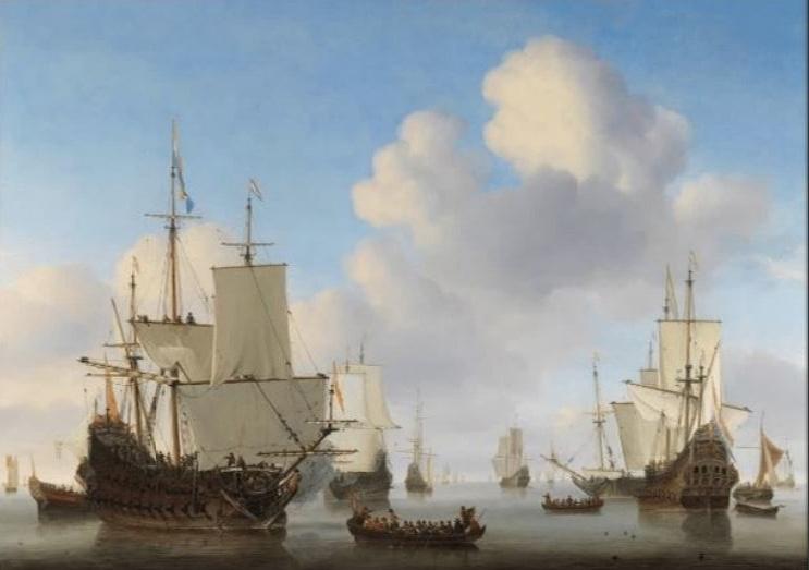 120 x 80 cm - Schilderij Dibond - Willem van de Velde - Hollandse schepen op een kalme zee