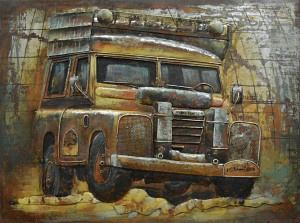 80 x 60 cm - 3D art Schilderij Metaal terreinauto Land Rover Defender - metaalschilderij - handgeschilderd