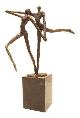 Bronzen beeldje - sculptuur - abstract - een goede uitstraling hebben