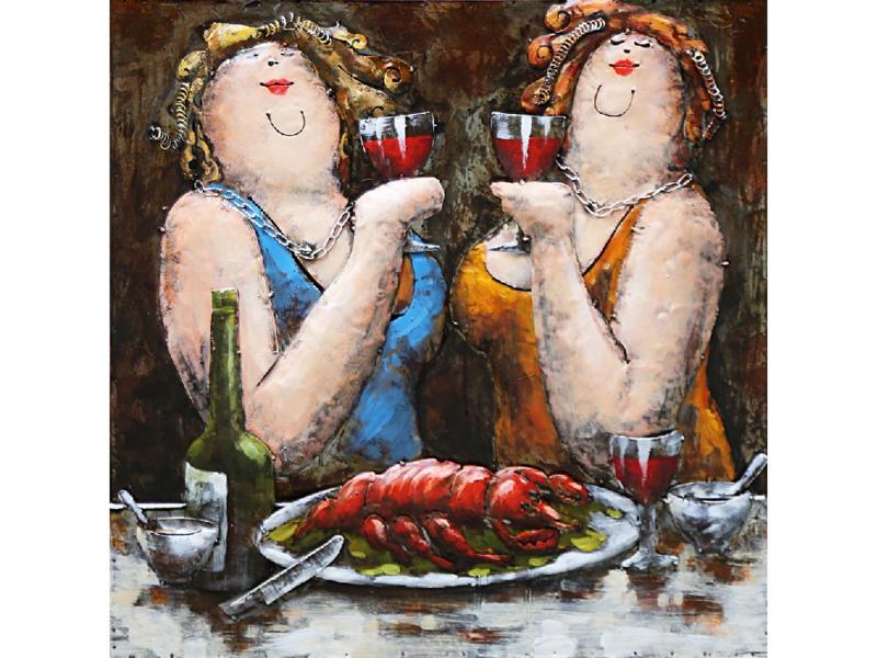 60 x 60 - 3D art Schilderij Metaal - dikke dames - handgeschilderd