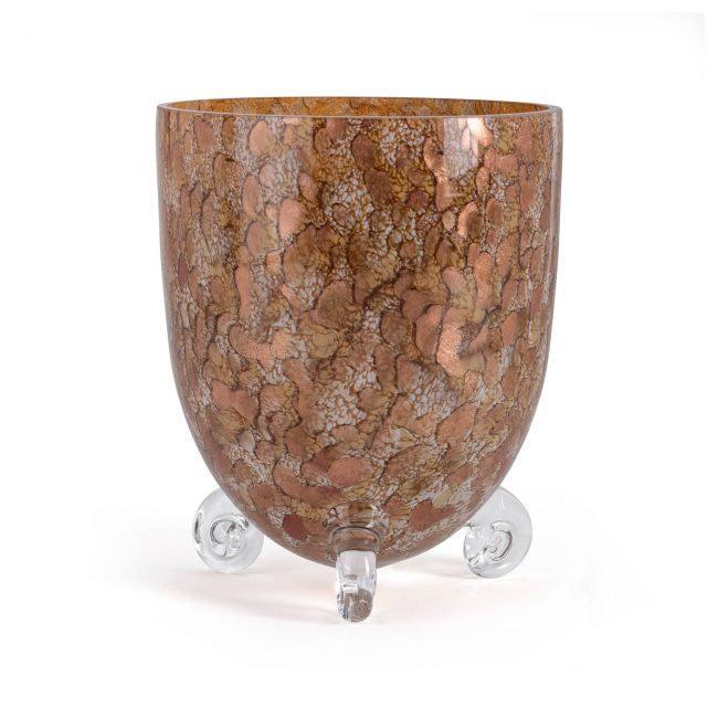 Design vaas Fidrio - Escargot gold - gekleurd glas - mondgeblazen - 22 cm hoog