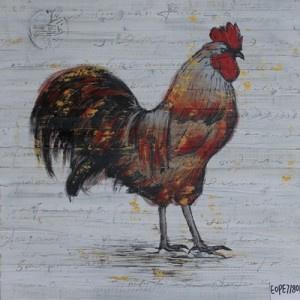 60 x 60 cm - Olieverfschilderij 2-luik - Hanen