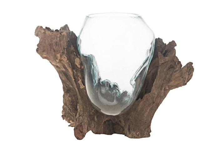 Glazen vaas op boomstronk - naturel