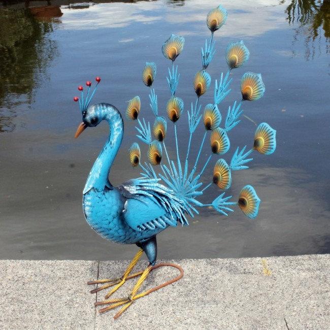 Beeld metaal - Tuinbeeld - beeld blauwe pauw - 59 cm hoog