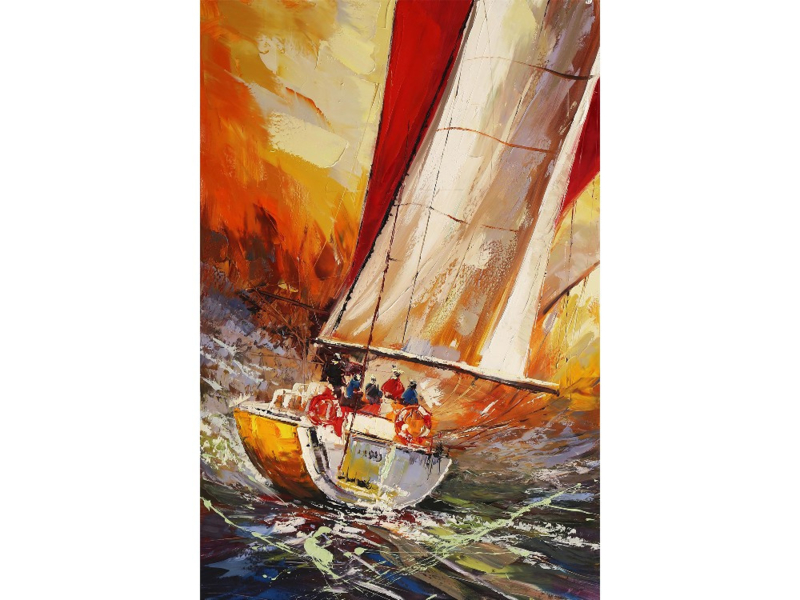 80 x 120 cm - Olieverf schilderij - schilderij zeilboot - handgeschilderd