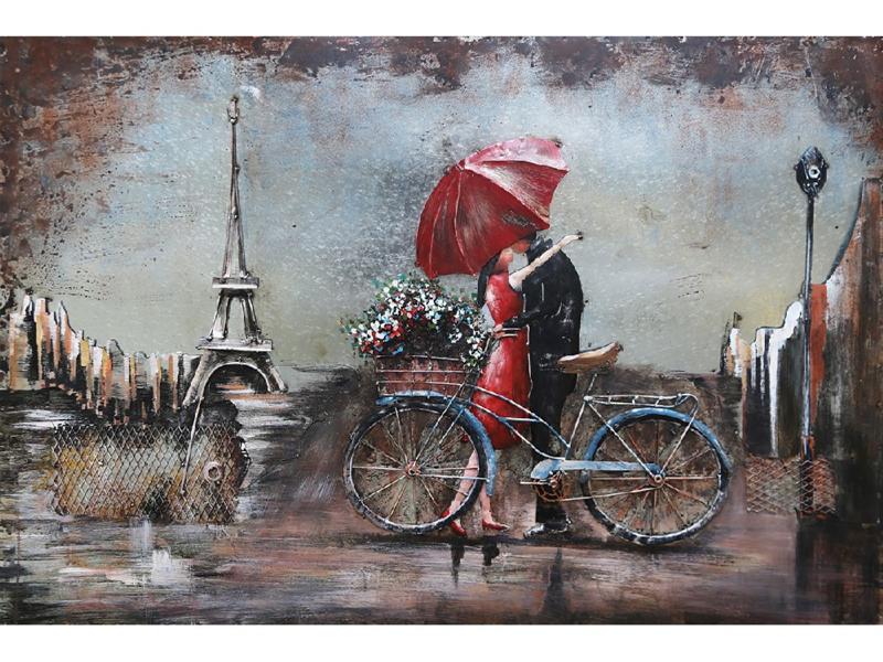 120 x 80 cm - 3D art Schilderij Metaal - verliefd stel - handgeschilderd