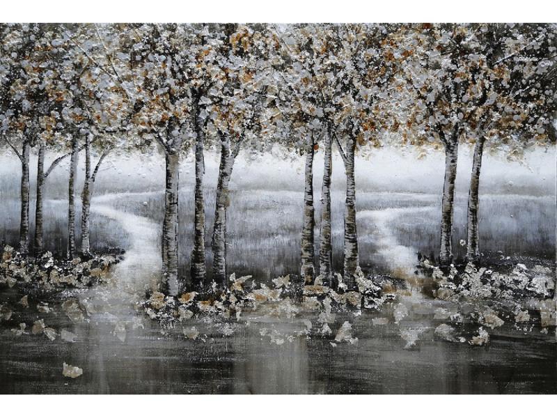 120x60 cm - Olieverf Schilderij - Grijs Bos - natuur handgeschilderd