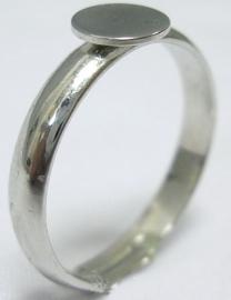 2 stuks verstelbare ringen met lijmplaatje van 6mm zilverkleur