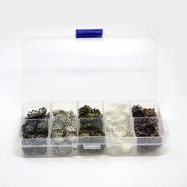 ca. 525 stuks kralenkapjes van 9mm in een doosje kleurenmix