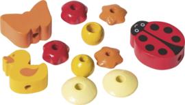 6023611- houten kralenmix lieveheersbeestje