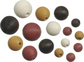 6023158- 20 stuks houten kralen mix geribbeld bruin tinten 10 tot 20mm