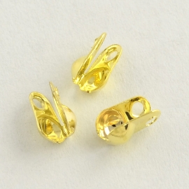 ca. 45 stuks klem kalotjes 4x2mm goudkleur