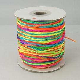 5 meter nylonkoord knoopkoord van 1.5mm dik neon regenboog