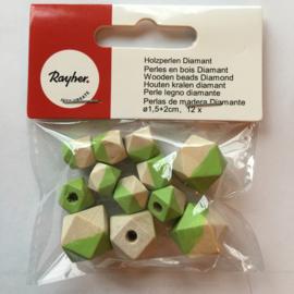 RA12201412- 12 stuks houten kralen diamant 1.5cm + 2cm naturel/groen