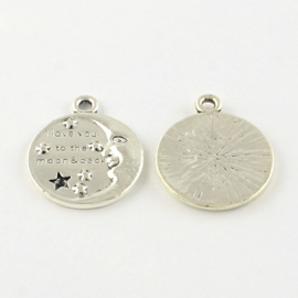 """D67- hanger / bedel """"i love you to the moon and back"""" 27mm"""