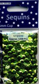 CE420001/1206- 12 gram (ca. 1200 stuks) pailletten facon 6mm metal lichtgroen