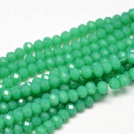 C341.A- ca. 150 stuks abacus facet geslepen glaskralen 4x3mm sea green