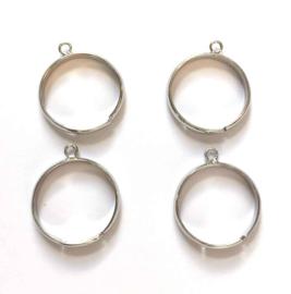 TH118082001- 4 stuks ringen met 1 aanrijg-oog verzilverd 20mm verstelbaar