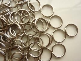 100 stuks mini sleutelringen van 15mm staalkleur