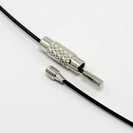 30 x staaldraad ketting van 45cm met sluiting zwart