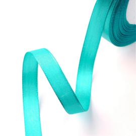 rol met 22.86 meter satijnlint van 12mm breed blauw/turquoise - super aanbieding!