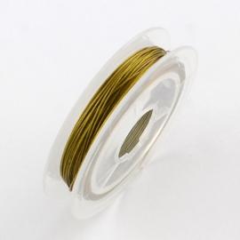 10 meter tigertail staaldraad 0.38mm goud