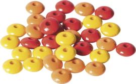 KN6023511- 33 stuks houten woodlens kralen 10mm rood/geel/oranje