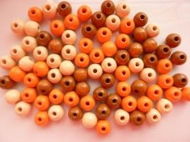 6016550-118 stuks houten kralenmix natuur tinten 6mm