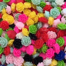 20 stuks acrylic cabochons roosjes 10x5mm kleurenmix