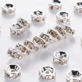C424- 100 stuks strass ringetjes spacers 6x3mm zilver
