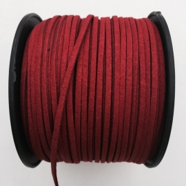 3 meter faux suede veter van 3mm breed tomatenrood