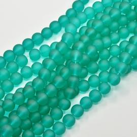 C317- 40 stuks glaskralen frosted 8mm sea green