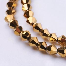 C357.B- ca. 118 stuks facet geslepen glaskralen bicone 4x4mm goud