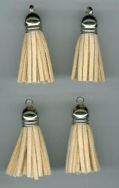 432102/1204- 4 kwastjes-tassel met cap suede van 3cm beige