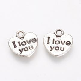 """D68- 10 stuks hangers/bedels hartjes """"I love you"""" 11x11.5mm"""