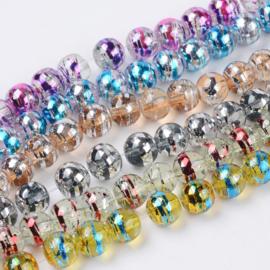 C70- 40 stuks glaskralen 8mm tripes kleurenmix