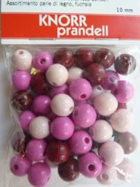 6020 240- 50 stuks houten kralenmix roze tinten 10mm