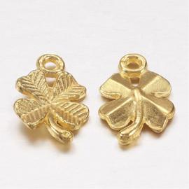 D56- 10 stuks metalen bedels klavertje vier 15.5x10mm goudkleur