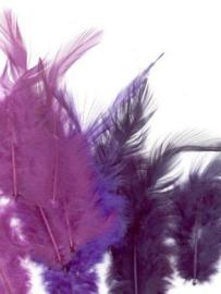 CE12235/3503- 15 stuks hanen verenmix van 9-15cm lang paars tinten