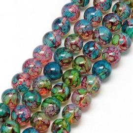 C378- ruim 90 stuks painted glaskralen imitatie opalite 6mm kleurenmix