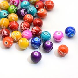 C265- 90 stuks (50gram) acrylic kralen kleurenmix drawbench 10mm