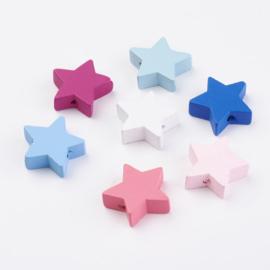8 stuks houten kralen sterren 19x19mm kleuremix