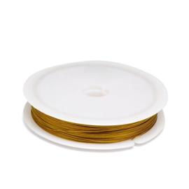 50 meter tigertail staaldraad 0.38mm goudkleur