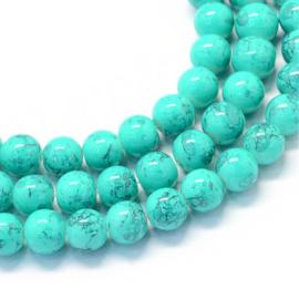 C105- 20 stuks painted marmer glaskralen van 10mm turquoise