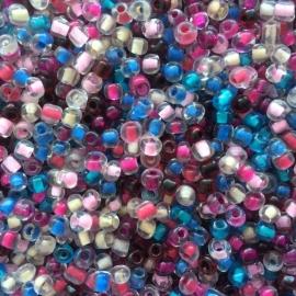 R60- 20gram glazen rocailles 4mm kleurenmix transparant met kleurkern