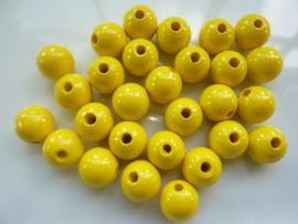 6011215- 28 stuks houten kralen geel 12mm